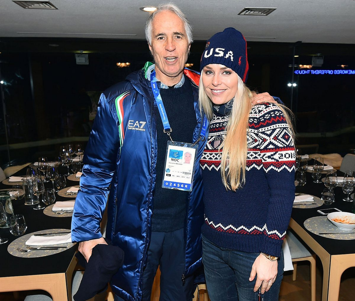 During the parade, Lindsey Vonn arrives at Casa Italia