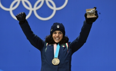 Federica Brignone at Medal Plaza