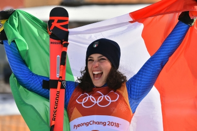 Federica Brignone wins the bronze medal in Giant Slalom