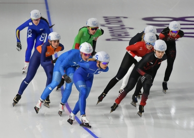 Speed skating mass start: Lollobrigida, Bettrone and Giovannini