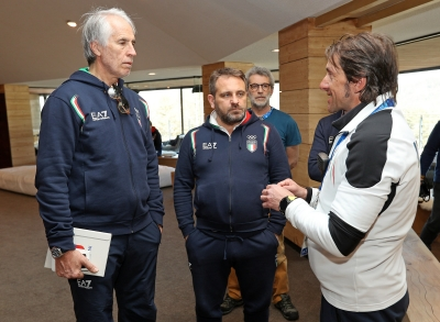 Sports Director Pisoni (Snowboard and Freestyle) and Technical Director Zoeggeler (luge) at Casa Italia